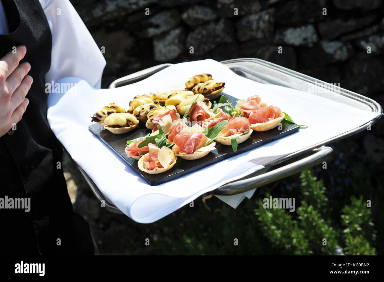 Fach des kanapees von einem Kellner an einem Hochzeit gehalten Stockbild
