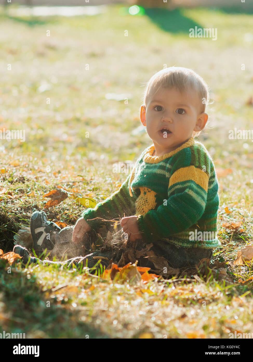Ein wenig 1 Jahr altes Baby Junge sitzt auf Herbst im Park auf Sonnenuntergang. Kind lächelnd und Laughting, Stockbild