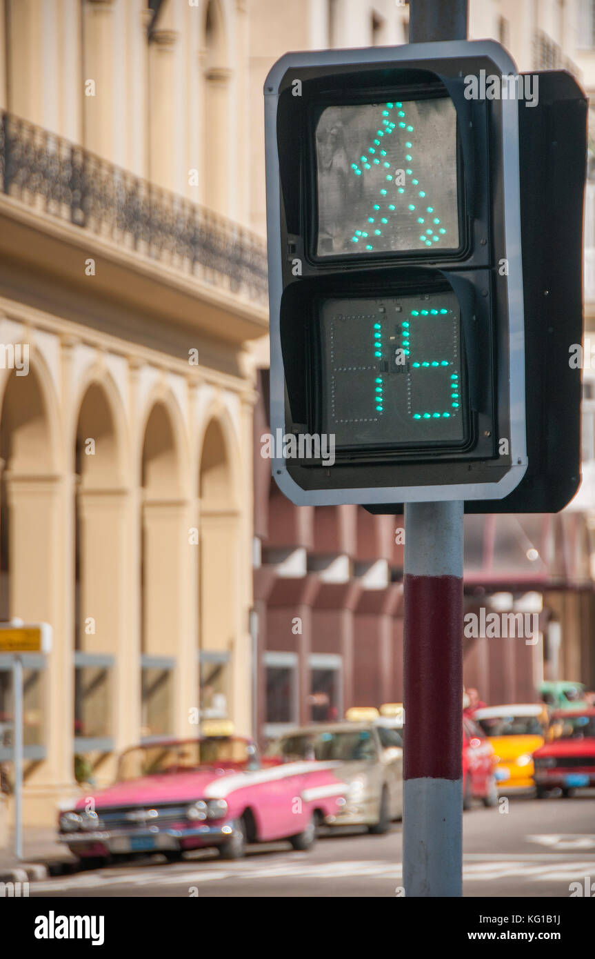 Kubanische Fußgängerüberweg timeout Zeichen, Havanna, Kuba Stockbild