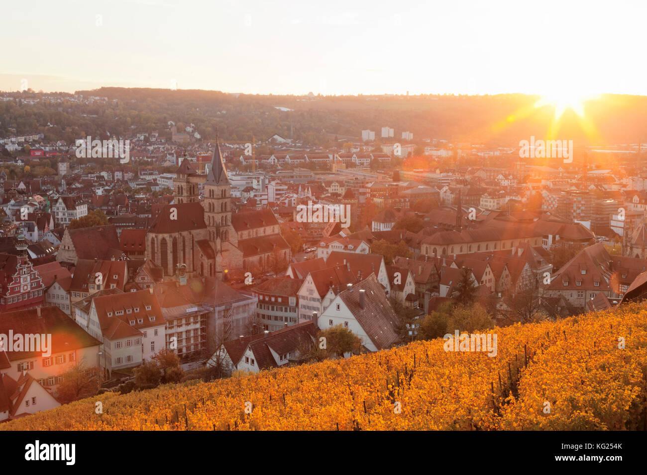 Blick von der Burg in Esslingen bei Sonnenuntergang, Esslingen, Baden-Württemberg, Deutschland, Europa Stockbild