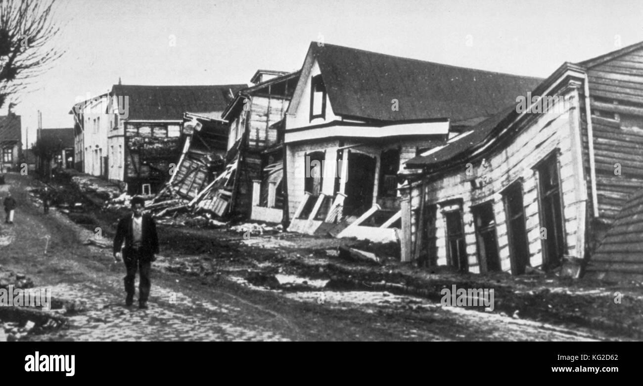 Erdbeben Schäden an gute Qualität, Holz-rahmen Häuser in Valdivia ...