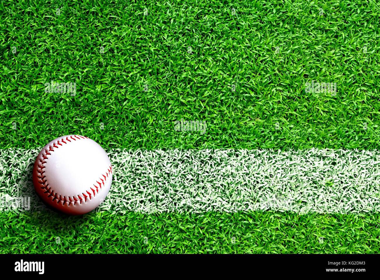 Baseball auf Feld mit weißen Linie markieren und kopieren. Linie stellt Infield oder regelwidrigen Linie. Stockbild