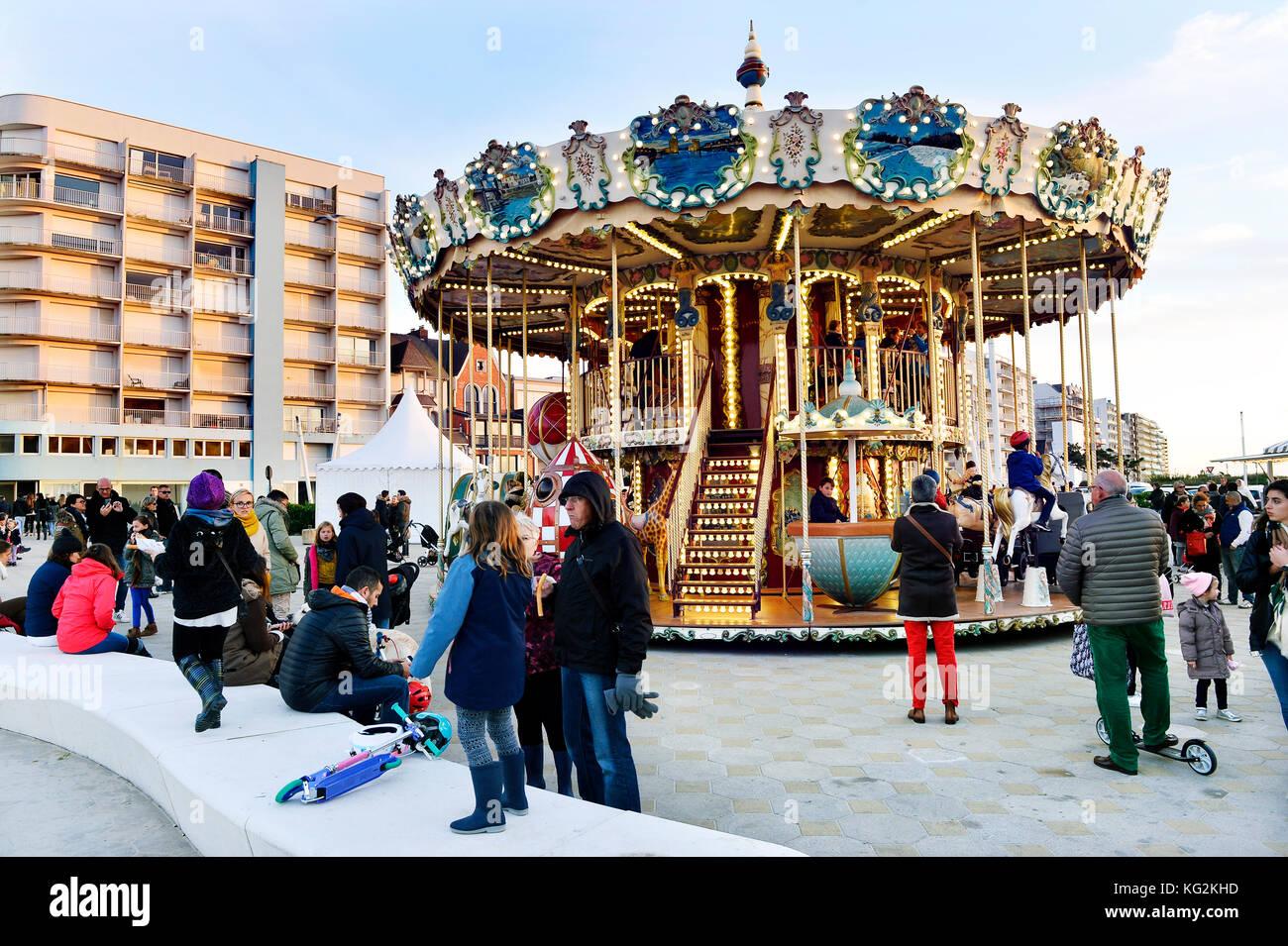 Merry go round - Le Touquet-Paris-Plage, Pas-de-Calais, Ile-de-France - Frankreich Stockbild