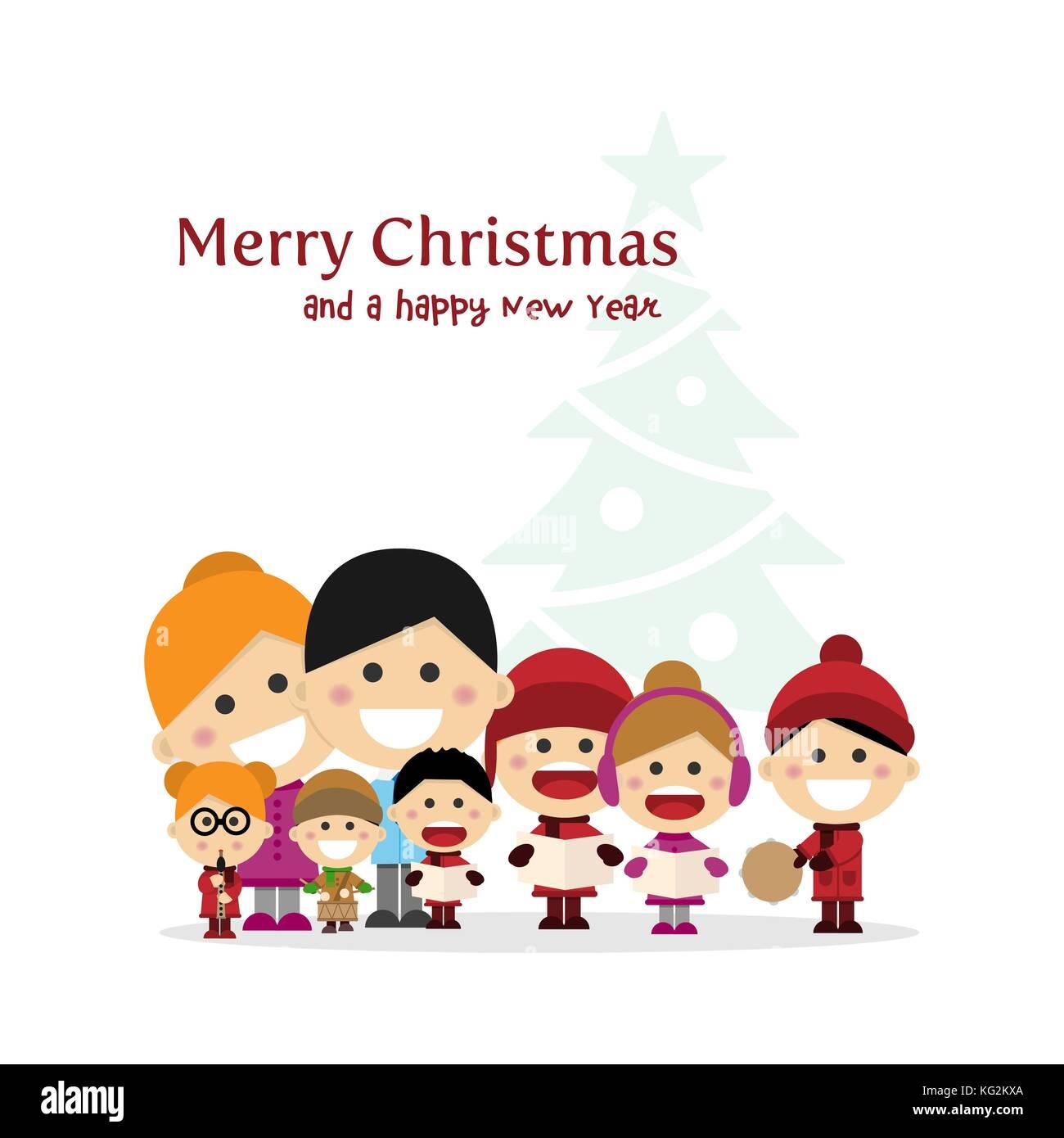 Niedlich Familie singen Weihnachtslieder auf Weihnachten mit Baum ...