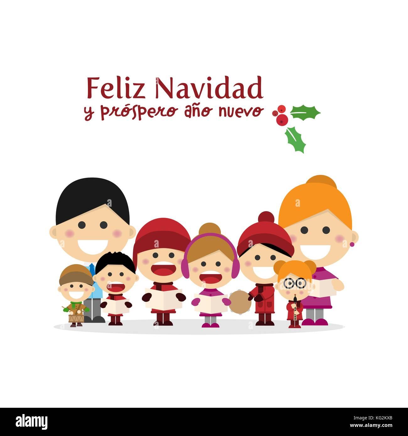 Niedlich Familie singen Weihnachtslieder auf Weihnachten. Spanische ...