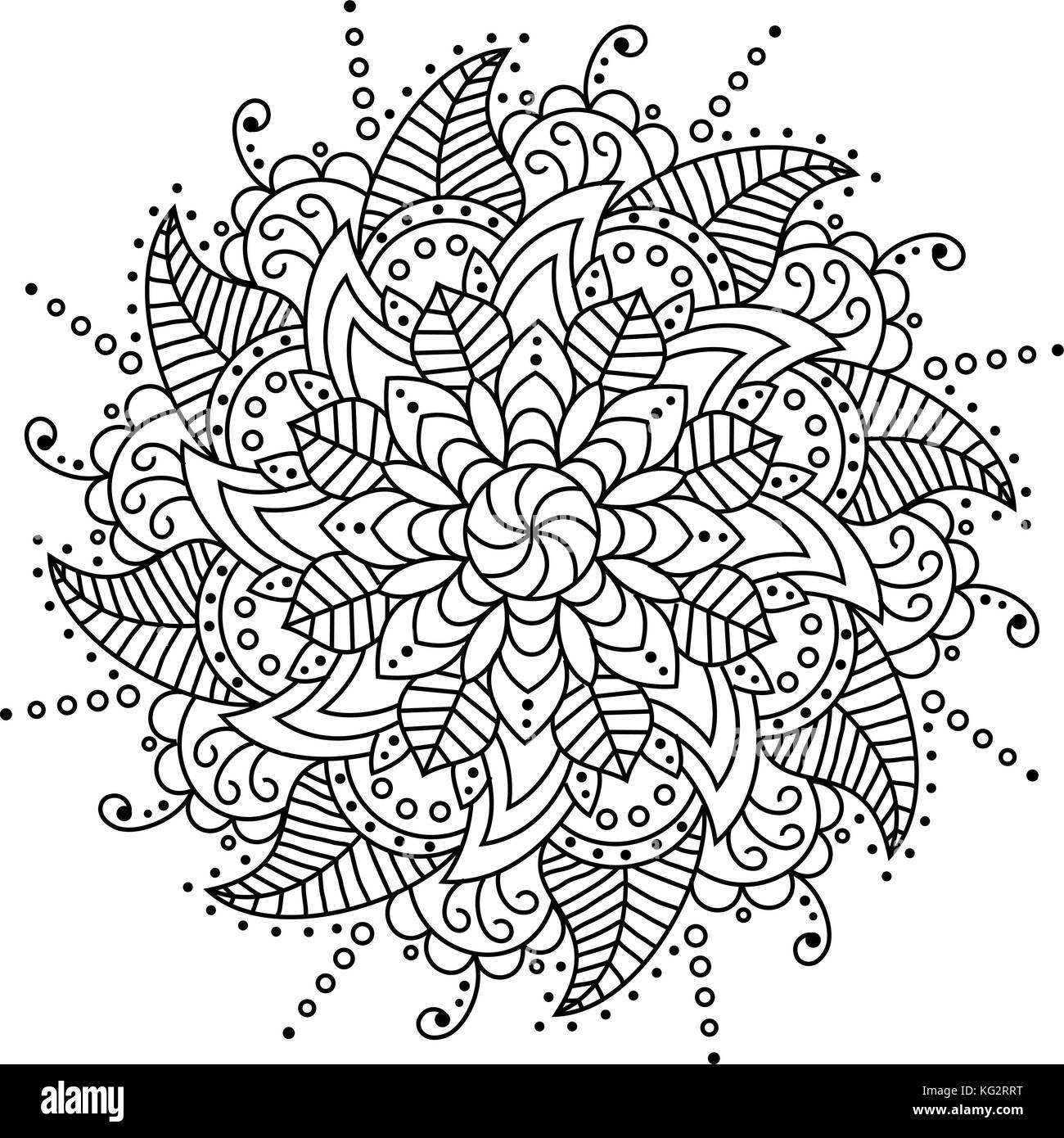 Blume Mandala. dekorative Elemente. malbuch Seite Stockbild