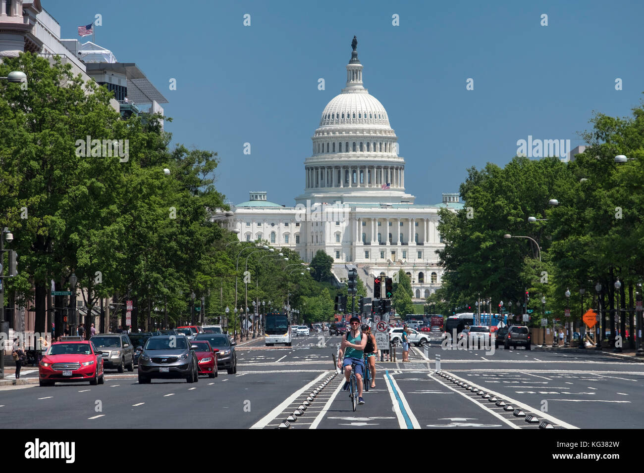 United States Capitol Building und der Pennsylvania Avenue, Washington DC, USA Stockbild