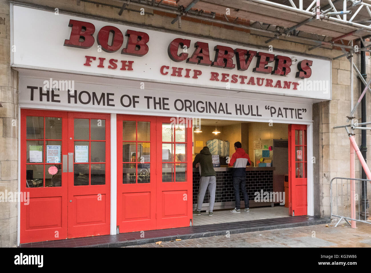 Von Bob Carver Fisch und Chips Restaurant, Hull, England, Großbritannien Stockbild