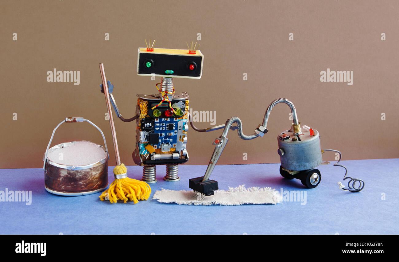 ... Mit Staubsauger Maschine, Gelb Mop, Eimer Seifenlauge Wasser.  Automatische Roboter Scheibe Reinigung Home Ausrüstung. Blauen Boden Braun  Wand Ich