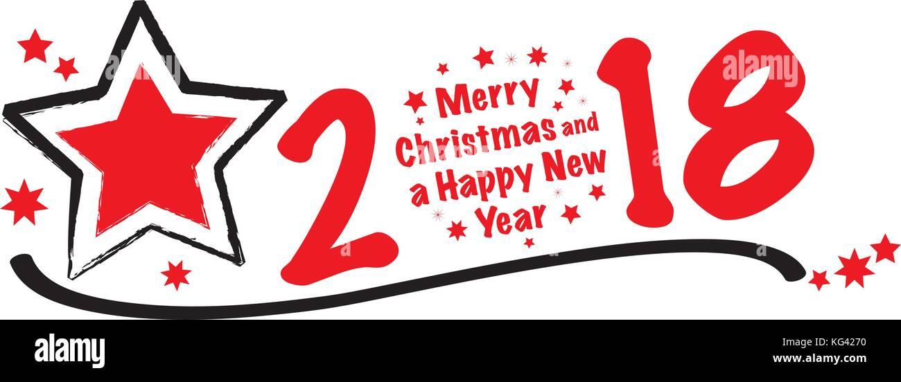Frohe Weihnachten und ein glückliches neues Jahr 2018 vector Text ...