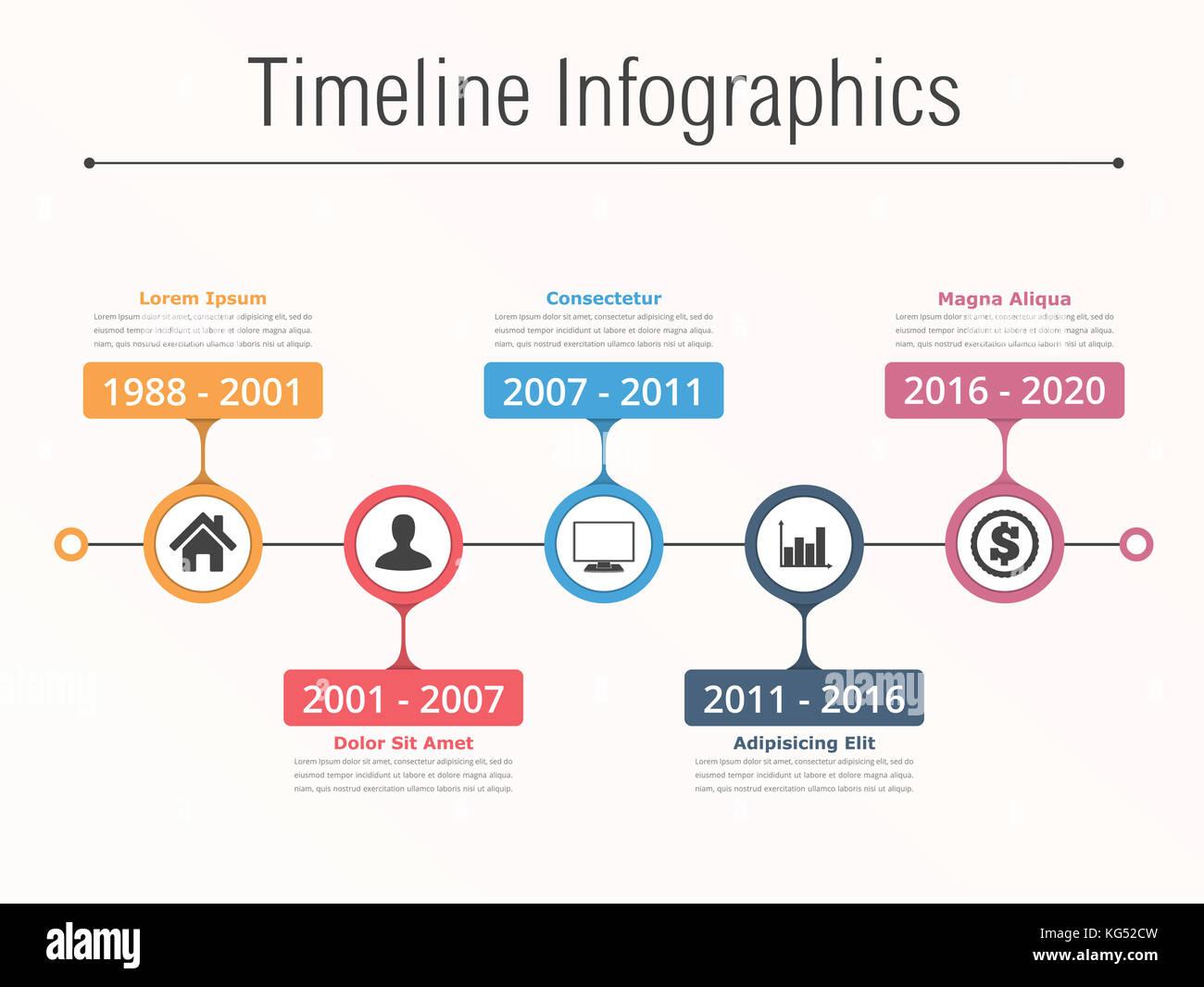 Horizontale Zeitleiste mit Platz für Symbole und Text, timeline ...