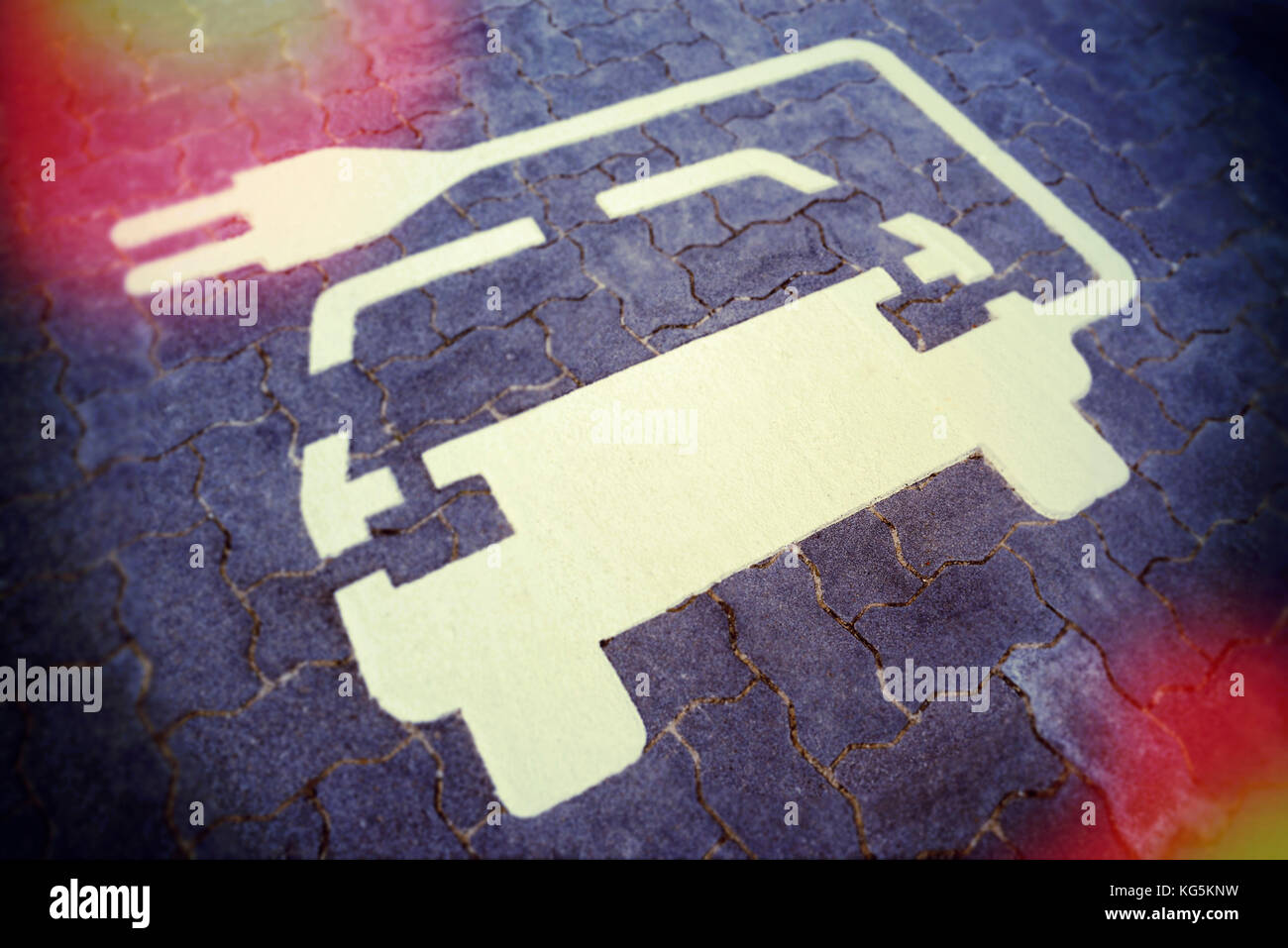 Elektroauto, e-mobility, Piktogramm, Ladestation Stockbild