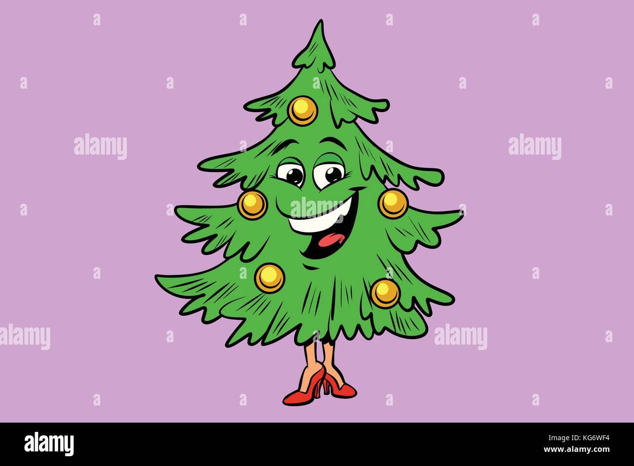 Weihnachtsbaum Comic.Weihnachtsbaum Niedlich Smiley Charakter Comic Cartoon Pop Art