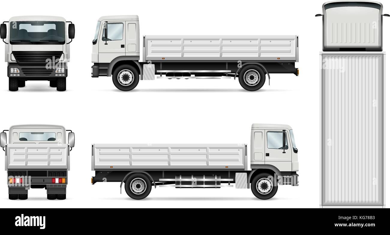 Lkw-Vorlage. Vektor Lkw auf weißen isoliert. Alle Elemente in den ...