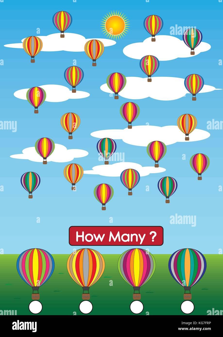 Kindergarten Mathematik Arbeitsblätter, wie viele Ballon gibt es ...