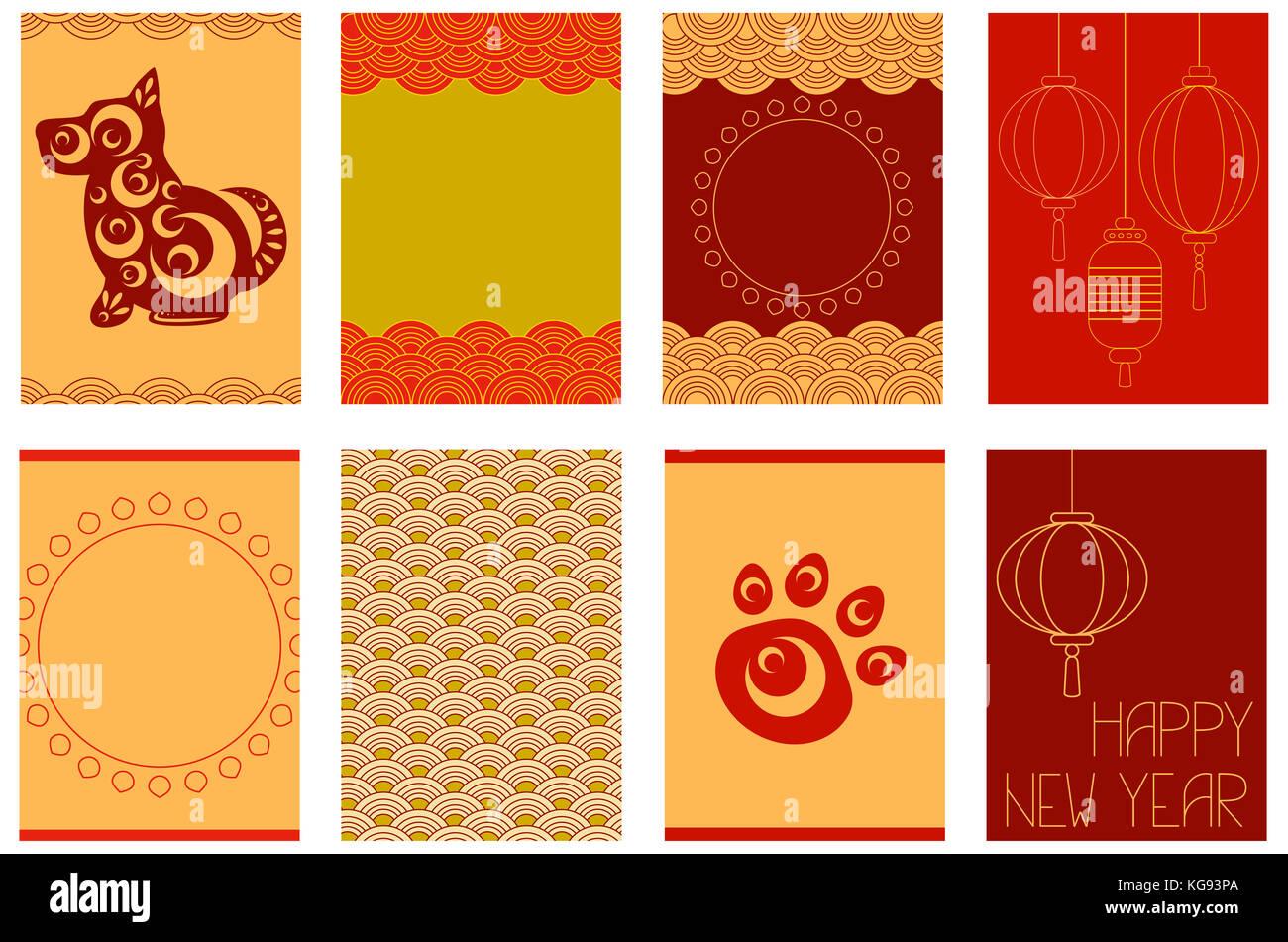 Sammlung von chinesischen neue Jahr Banner, Hintergründe, Flyer ...