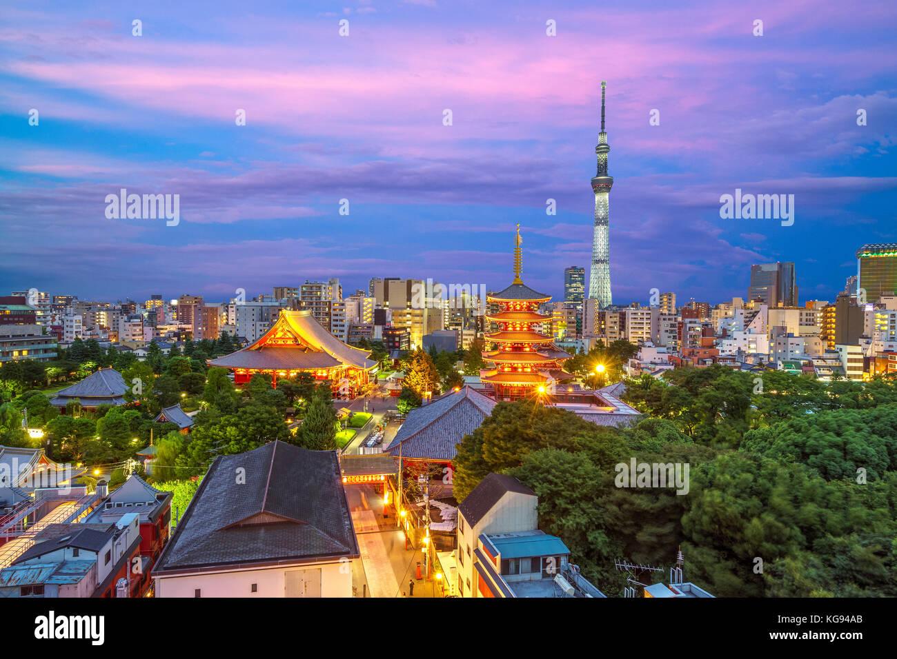 Luftaufnahme von Tokyo City bei Nacht in Japan Stockbild