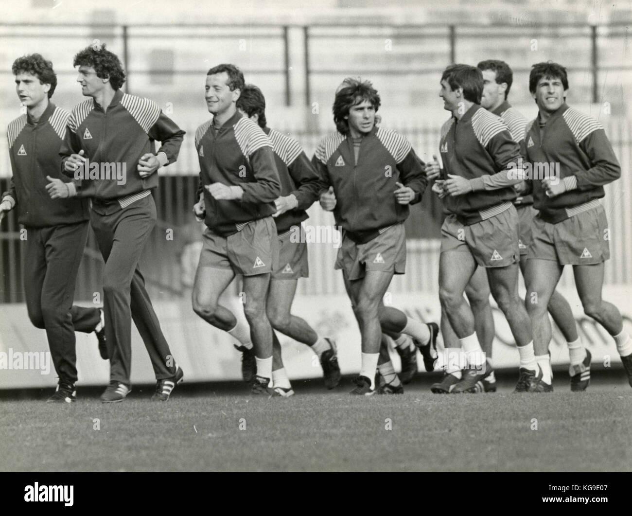 Training der italienischen Fußball-Nationalmannschaft 1985 Stockbild