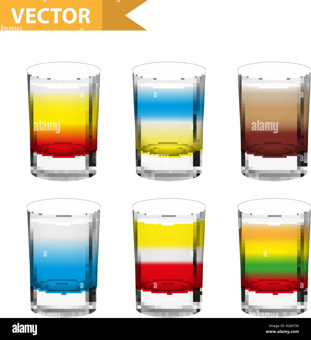 Realistische set shots Cocktails. 3d-shot mit Getränken für Bars ...