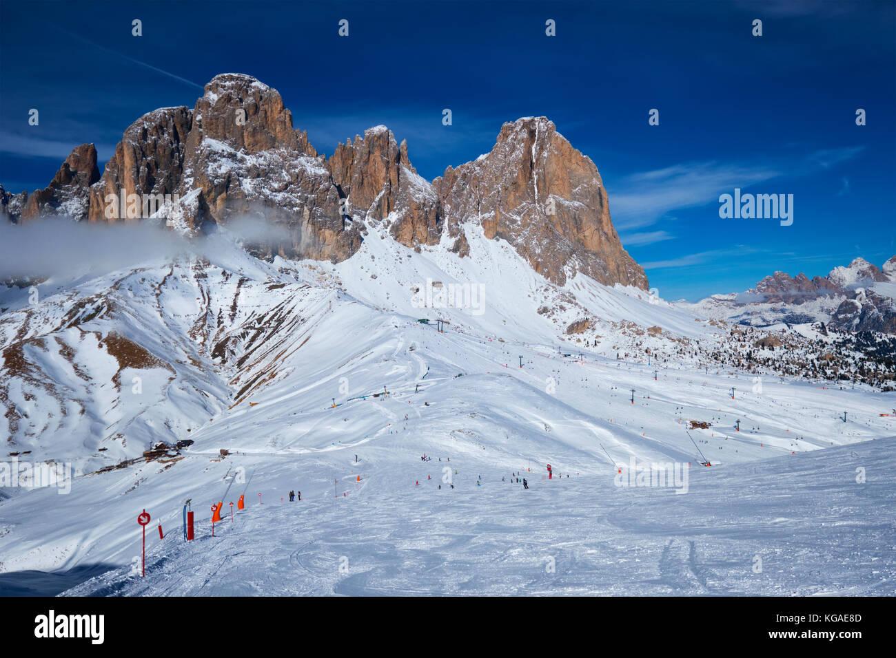 Skigebiet in Dolomiten, Italien Stockfoto