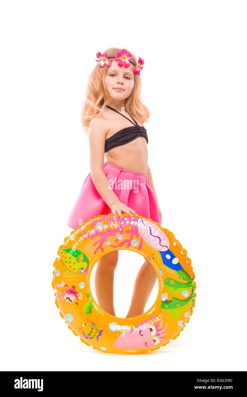 Girl in pool white bikini black hair stockfotos girl in for Pool aus gummi