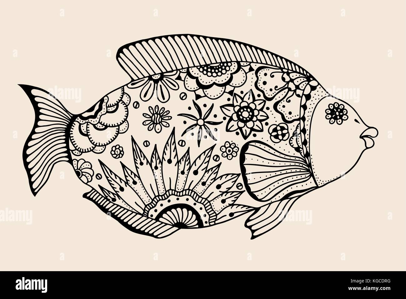Dekorative Grafik Fisch. vector vintage Gravur. zentangle. Hand ...