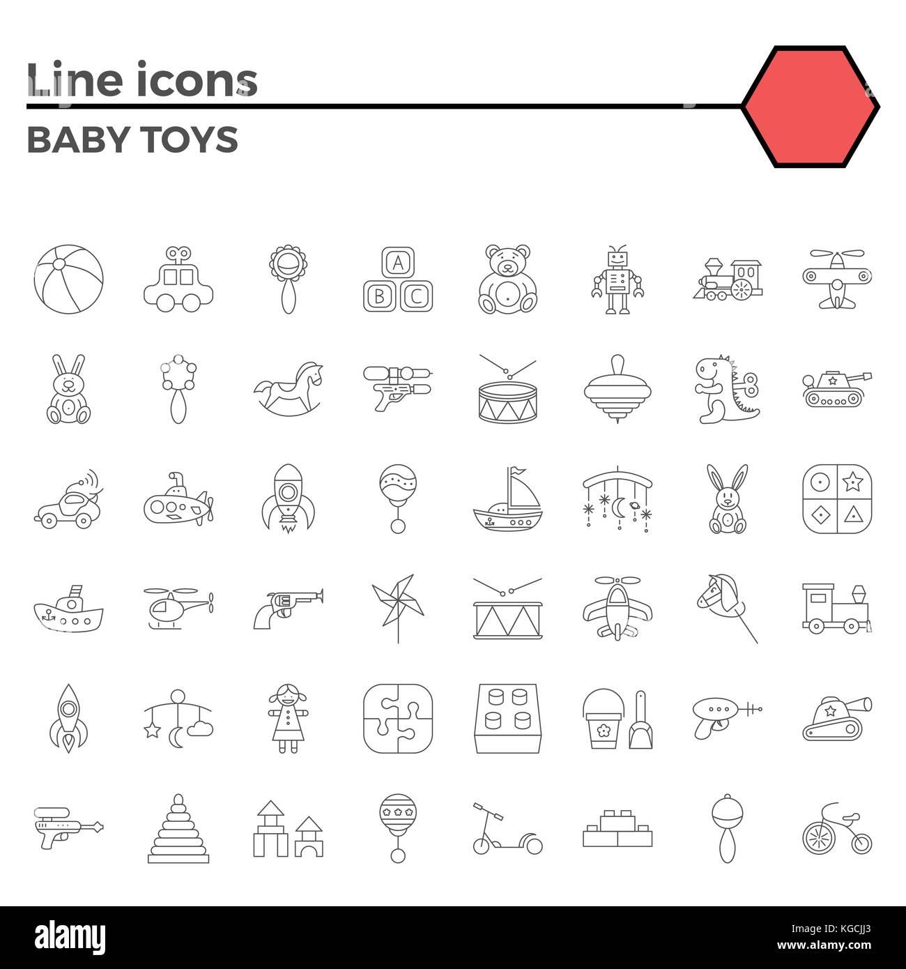Baby Spielzeug thin line ähnliche Symbole auf dem weißen Hintergrund ...