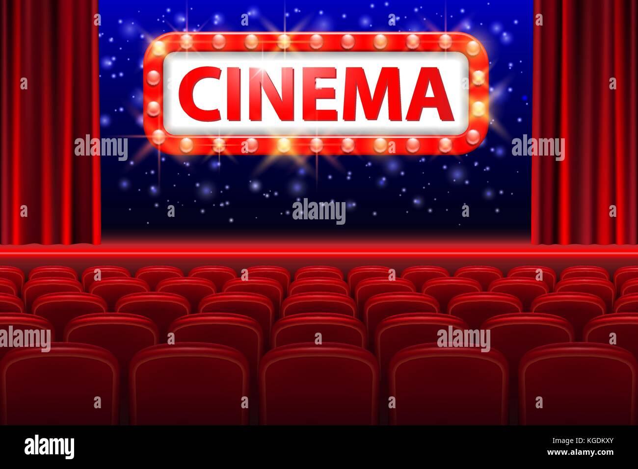 Realistische Kino Interieur mit roten Sitzen. retro style Kino mit ...