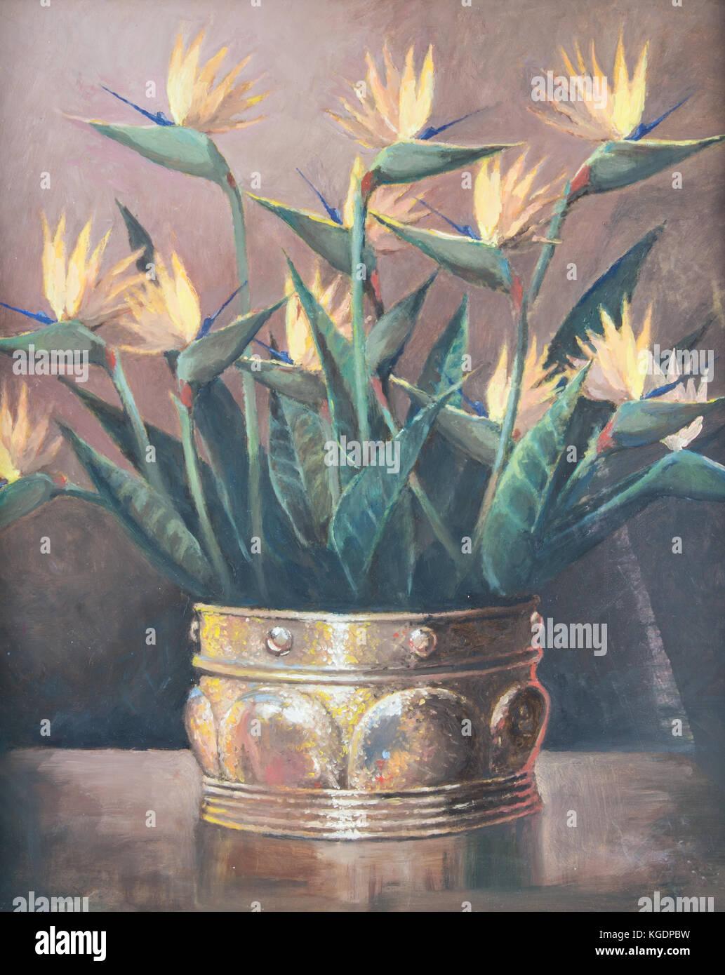 original lgem lde auf leinwand stillleben mit strelitzia reginae orange blumen in kupfer vase. Black Bedroom Furniture Sets. Home Design Ideas