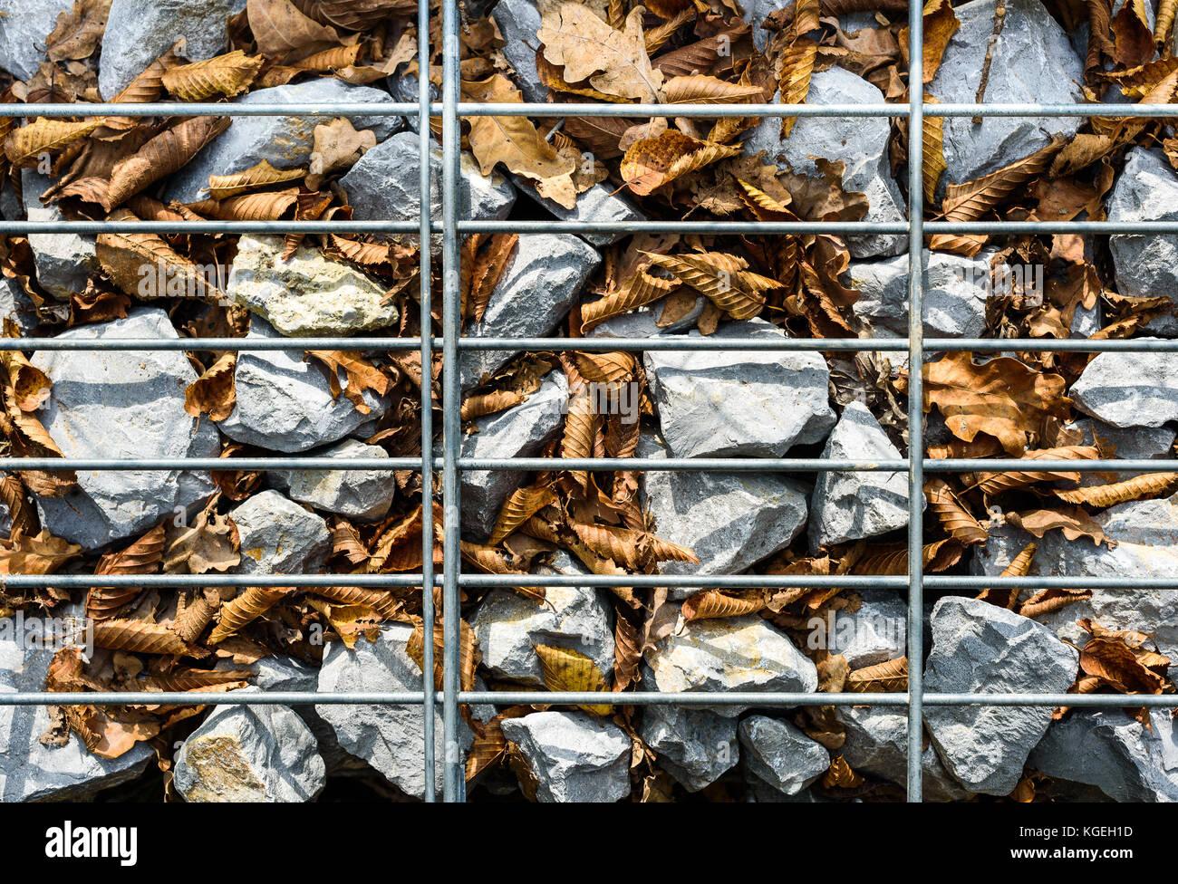 Kabel Gabione Rock Zaun Metall Kafig Mit Steinen Gefullt Textur