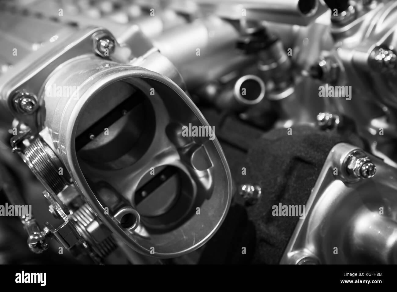 Auto motor Teile, v12-Motor Fragment, closeup Foto mit selektiven ...