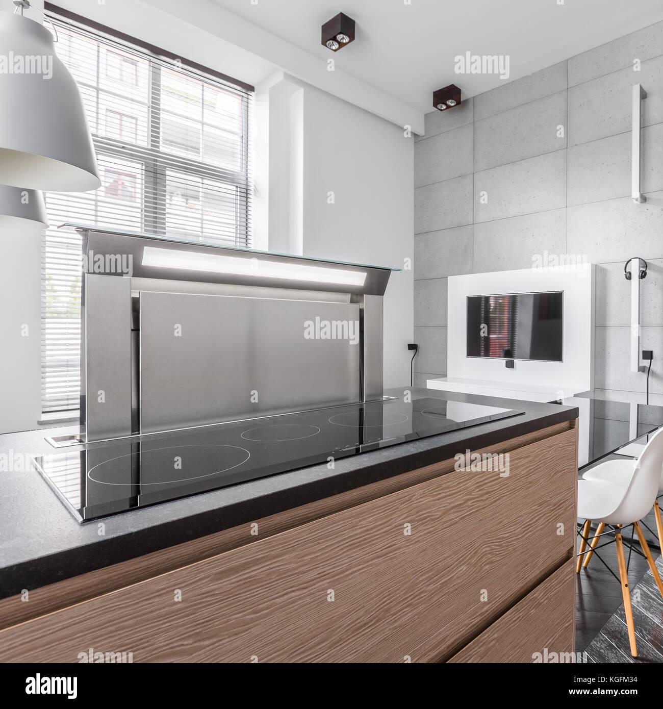 Moderne Induktionskochfeld Im Stilvollen Granit Kuchenarbeitsplatte