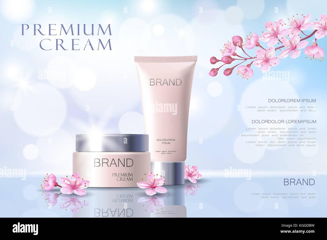 Sakura Blume kosmetische Werbe Poster Vorlage. pink petal Blossom ...