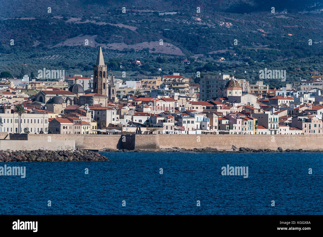 Stadtbild von Alghero, Sardinien, Italien Stockbild