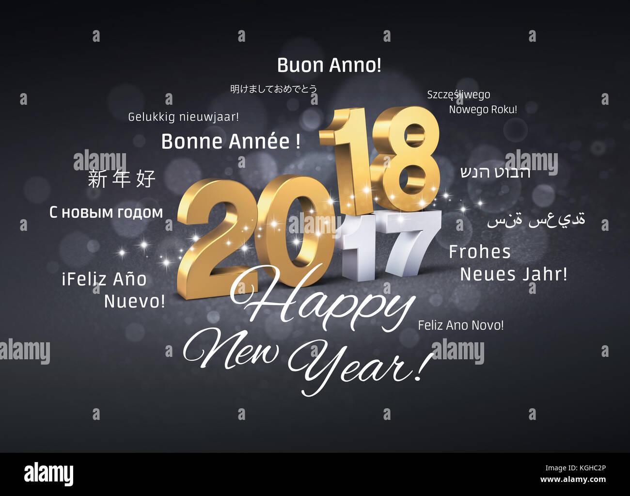 Gold 2018 neue Jahr Typoskript vor 2017 und Begrüßungen in mehreren ...