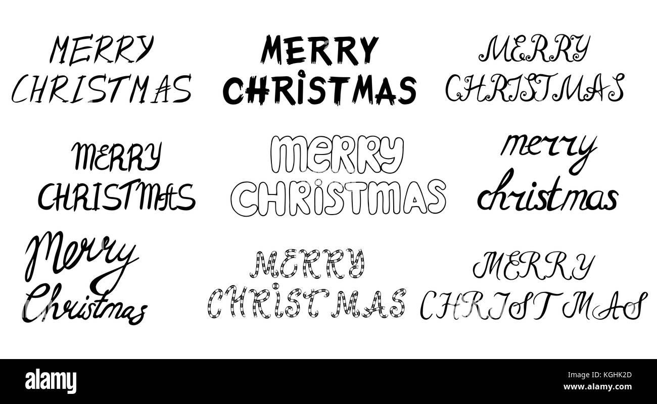 Satz von Hand gezeichnet Frohe Weihnachten und guten Rutsch ins neue ...