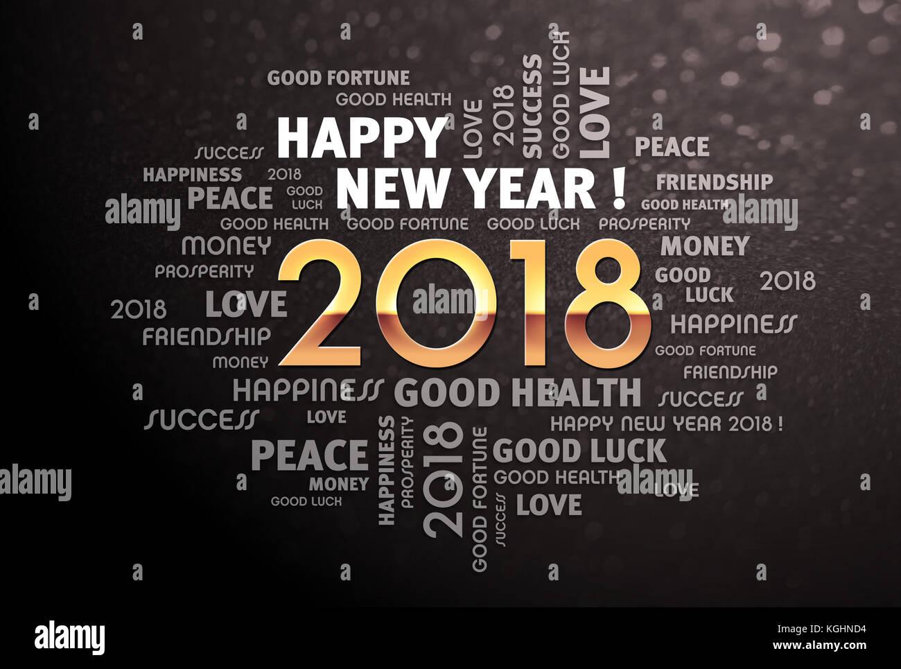 Gruß Worte rund um Gold 2018 Jahr Art, auf schwarzem Hintergrund ...