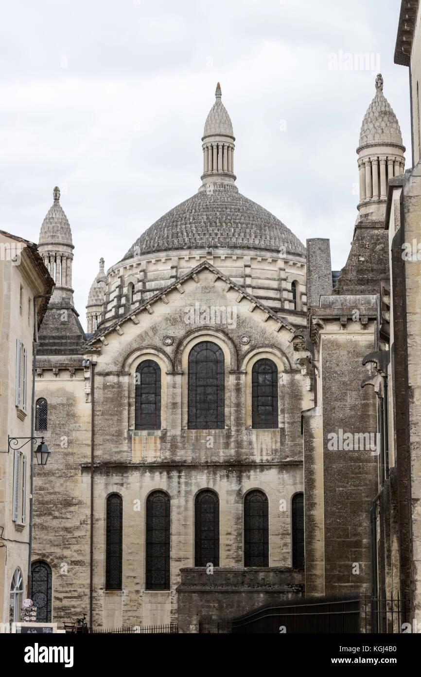 Street View der Cathédrale Saint-Front, Périgueux Kathedrale, Département nouvelle - Aquitaine, Frankreich. Stockbild