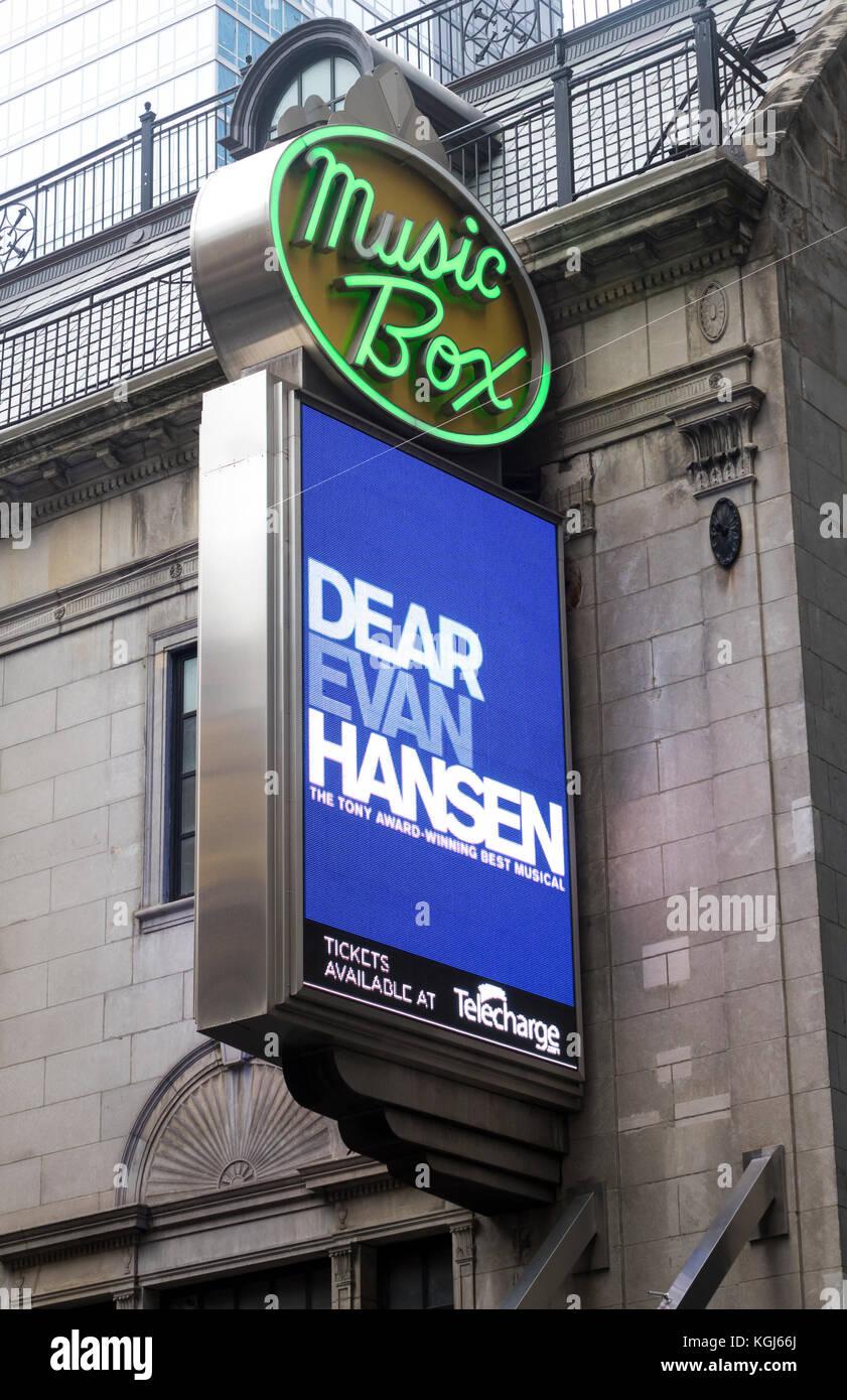 Liebe Evan Hansen am Music Box Theatre in NEW YORK. Stockbild