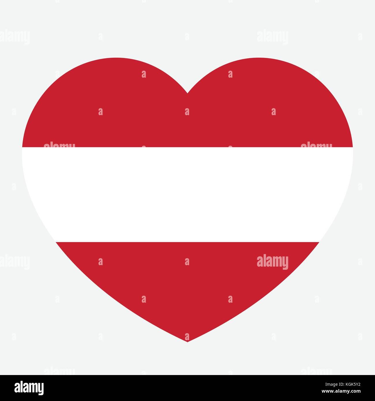 österreich Flagge In Das Herz Die österreichische Fahne Vector