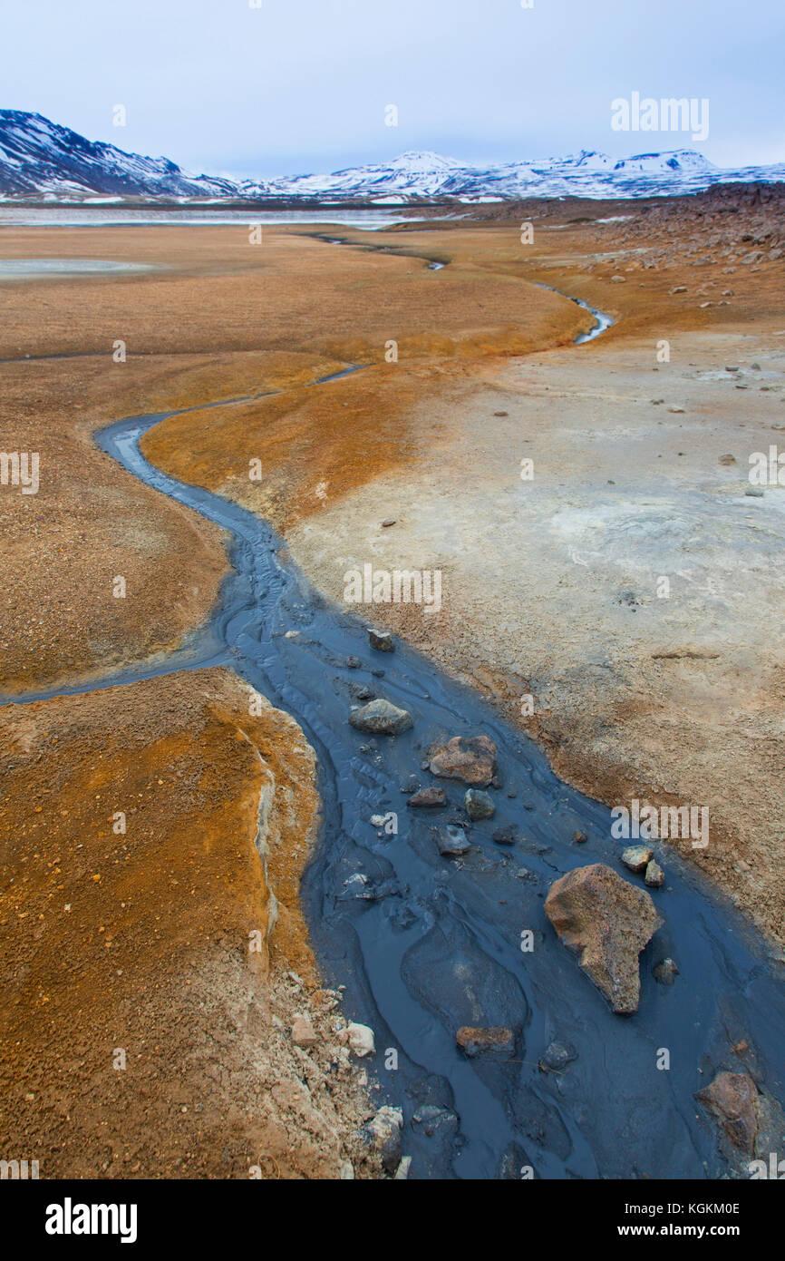 Hverir, geothermale Region Norðurland Eystra in der Nähe námafjall,/nordurland eystra, Island Stockbild