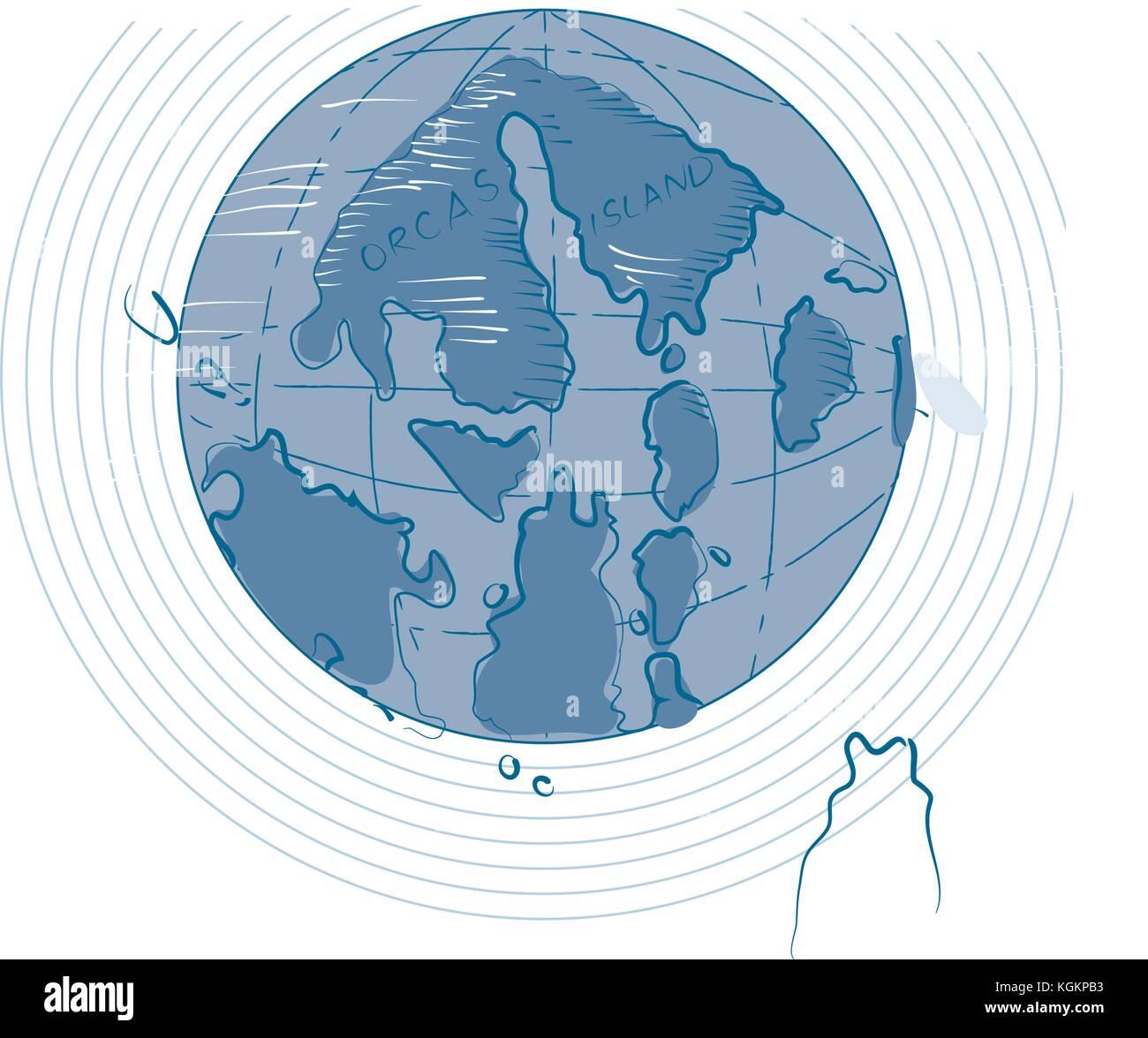Zeichnung Skizze stil Abbildung: Karte von Orcas Island auf der ...