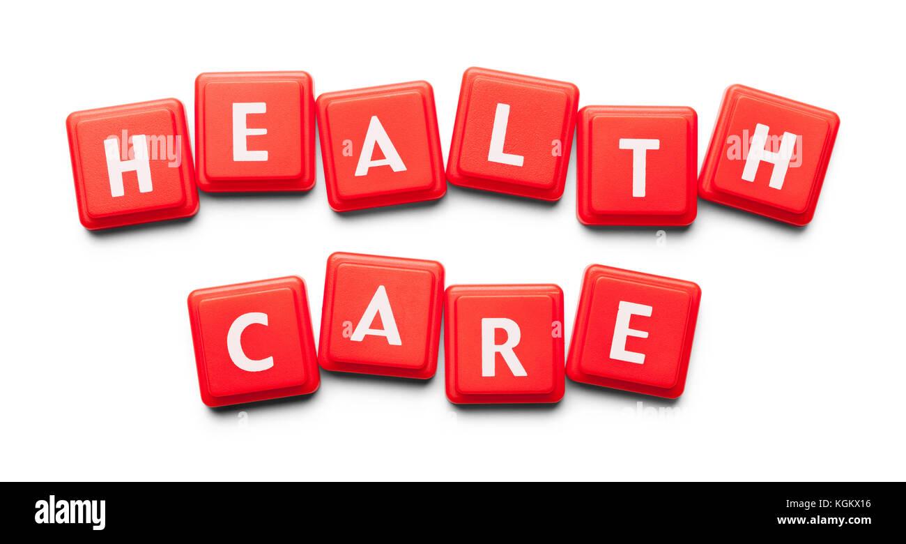Health Care mit Holz Fliesen auf einem weißen Hintergrund geschrieben. Stockbild