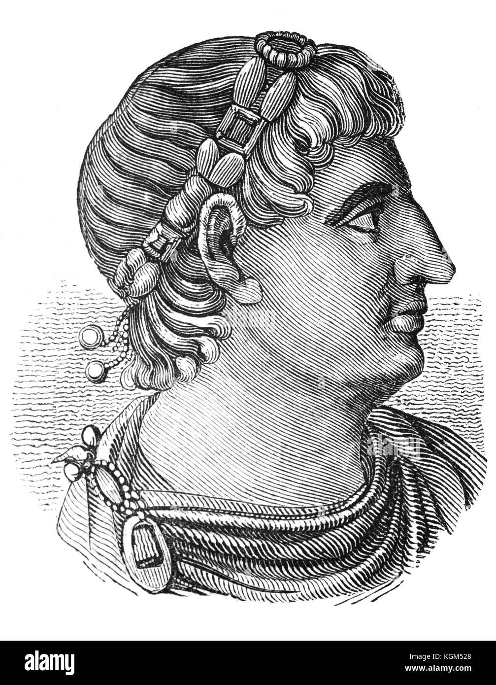 Von Einer Römischen Münze Ein Profil Von Konstantin Der Große 272