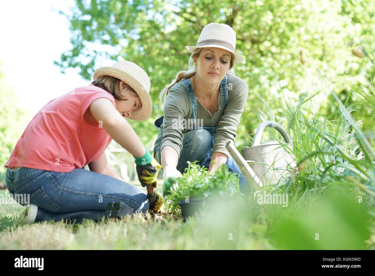 Mutter und Tochter im Garten arbeiten zusammen Stockbild