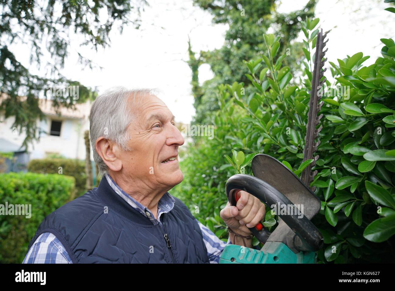 Ältere Menschen mit Heckenschere Stockfoto