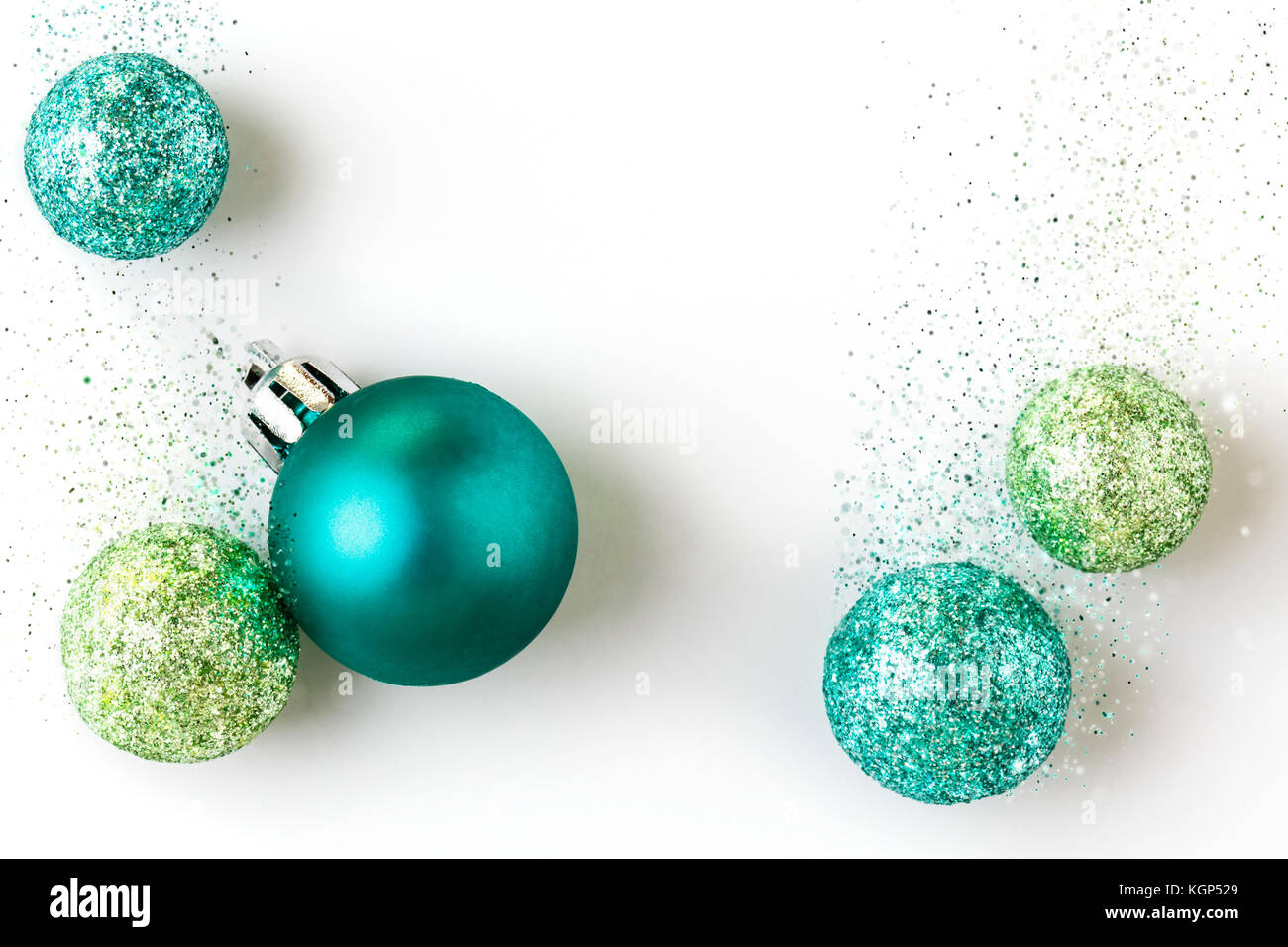 Schöne, helle, moderne, zeitgenössische blaue und grüne Weihnachten ...