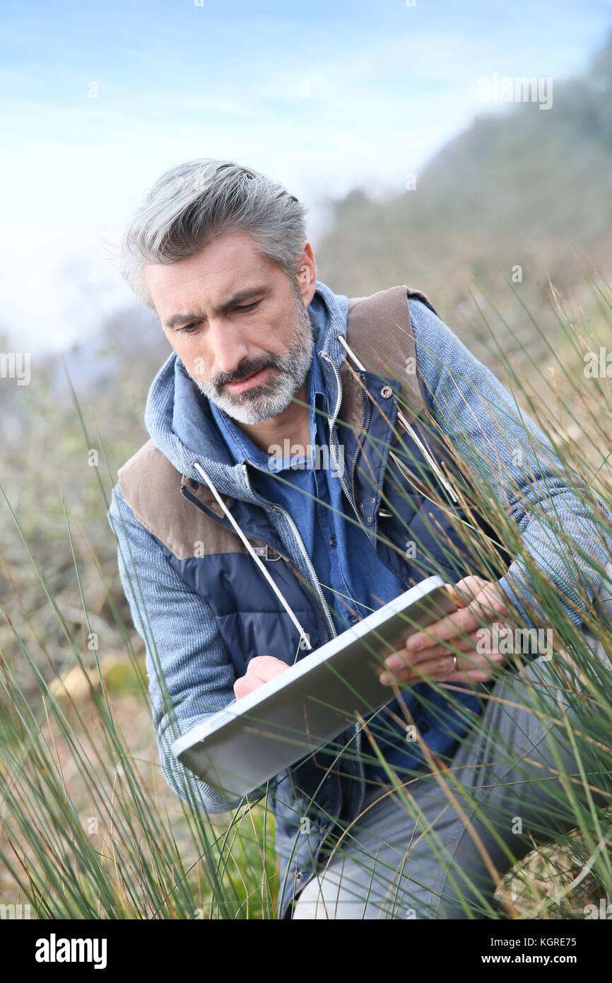 Mit Tablet und Kontrolle auf die Vegetation Agronom Stockbild
