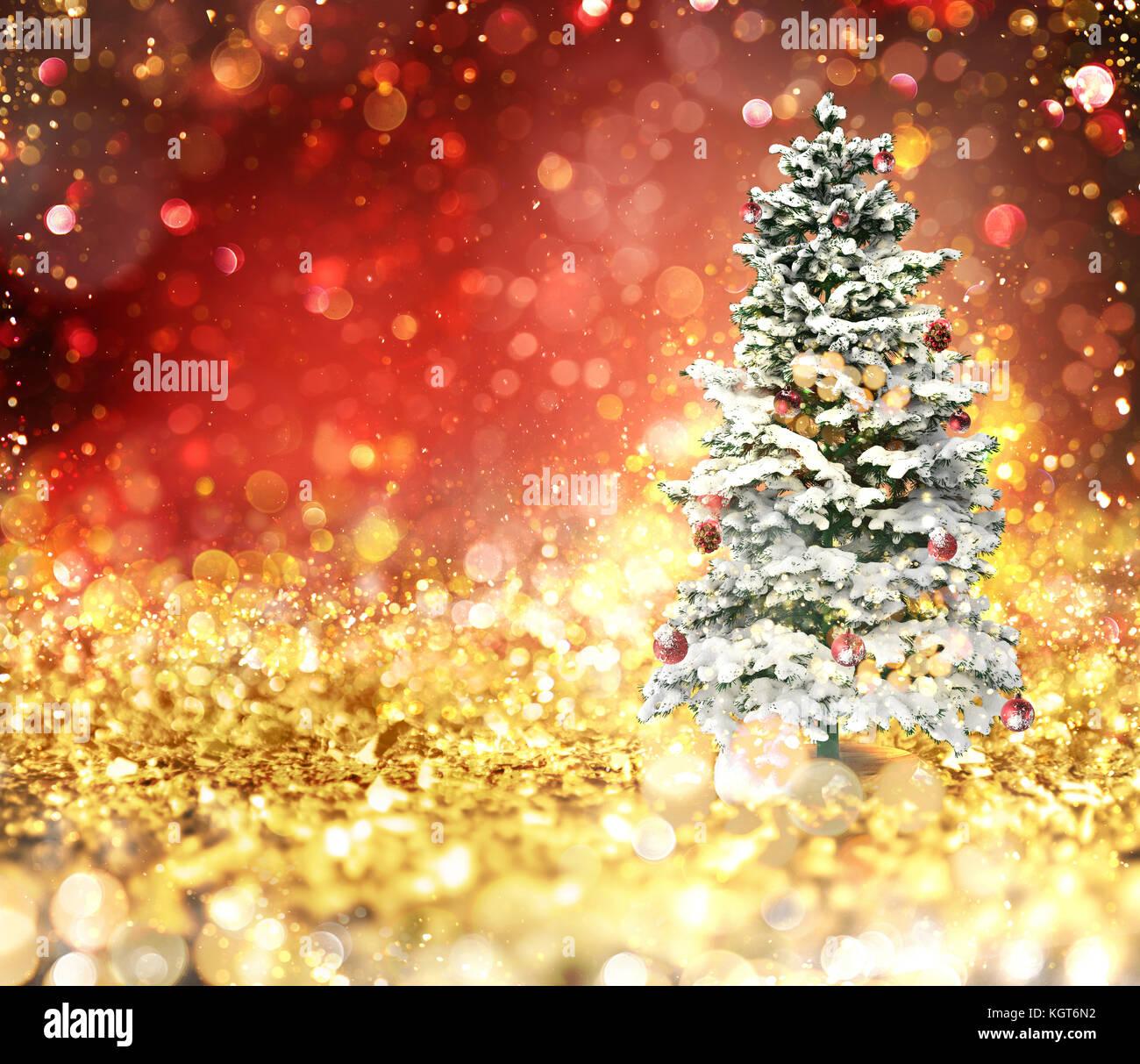 weihnachtsbaum auf gold und rot funkelnden hintergrund. Black Bedroom Furniture Sets. Home Design Ideas