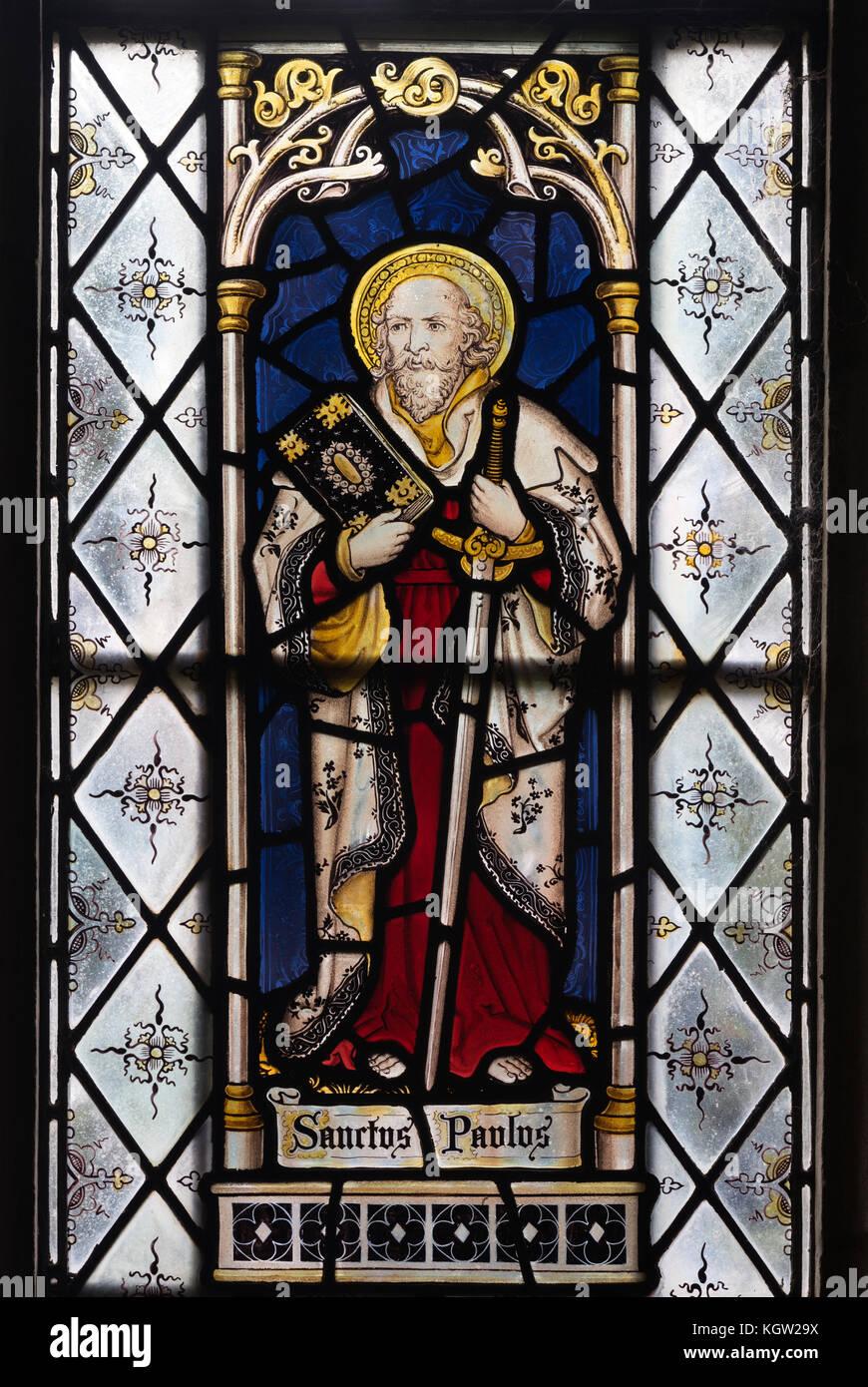 Saint Paul Glasmalerei, St. Margaret's Church, Acton Scott, Shropshire, England, Großbritannien Stockbild
